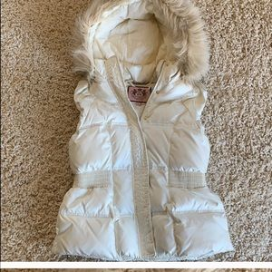 Juicy Couture Ivory Puffer Vest with Fur Hood M